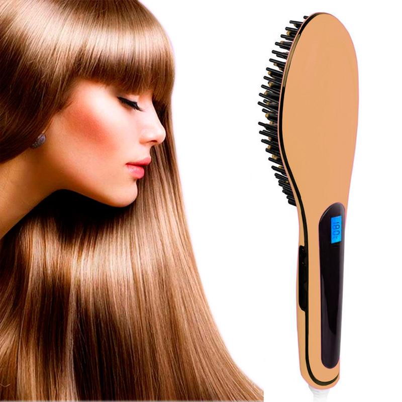 Brosse-Lissante-LCD-Peigne-Fer-a-Lisser-Chauffant-Cheveux-Defriser